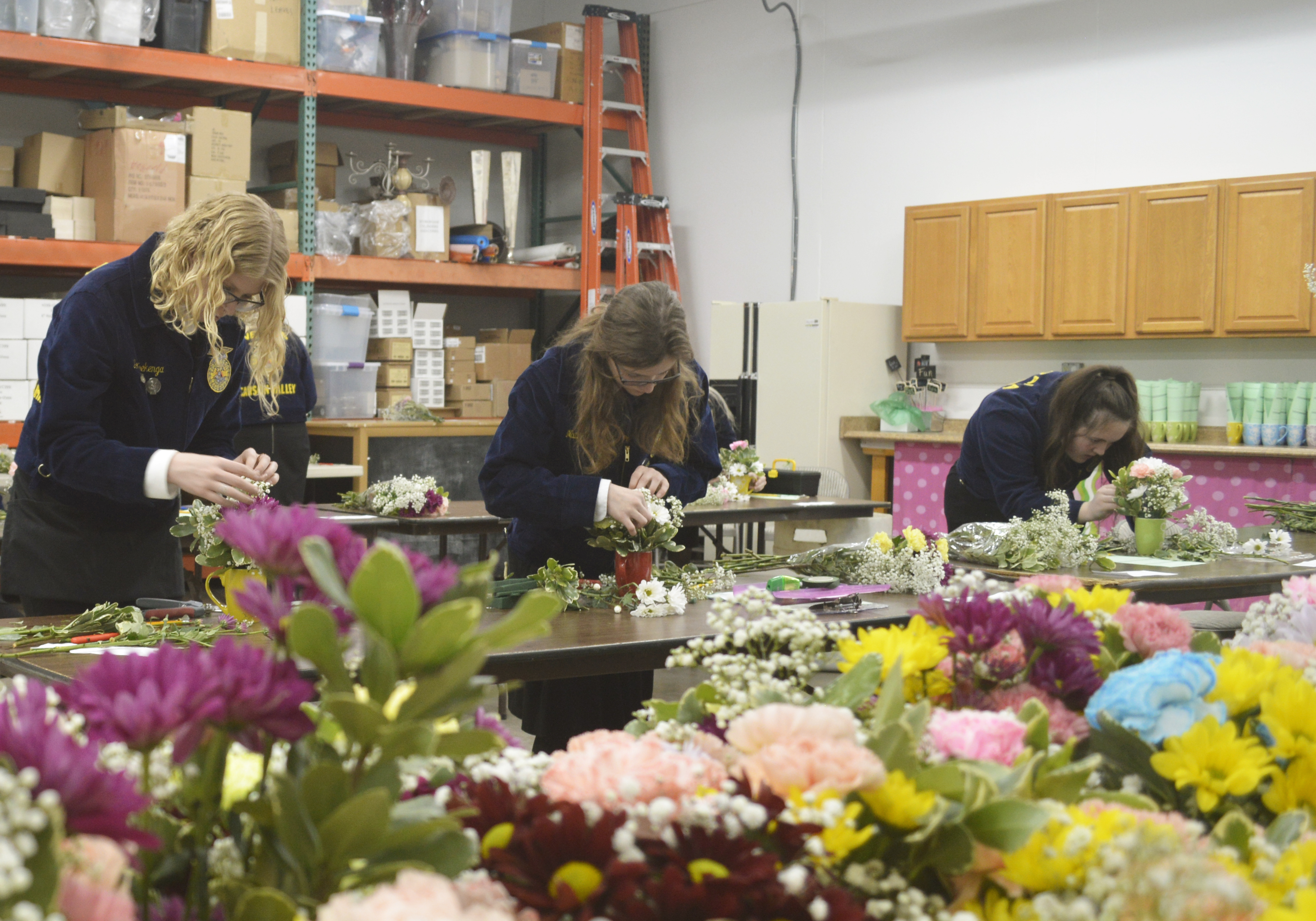 FFA students participate in the floriculture competition.