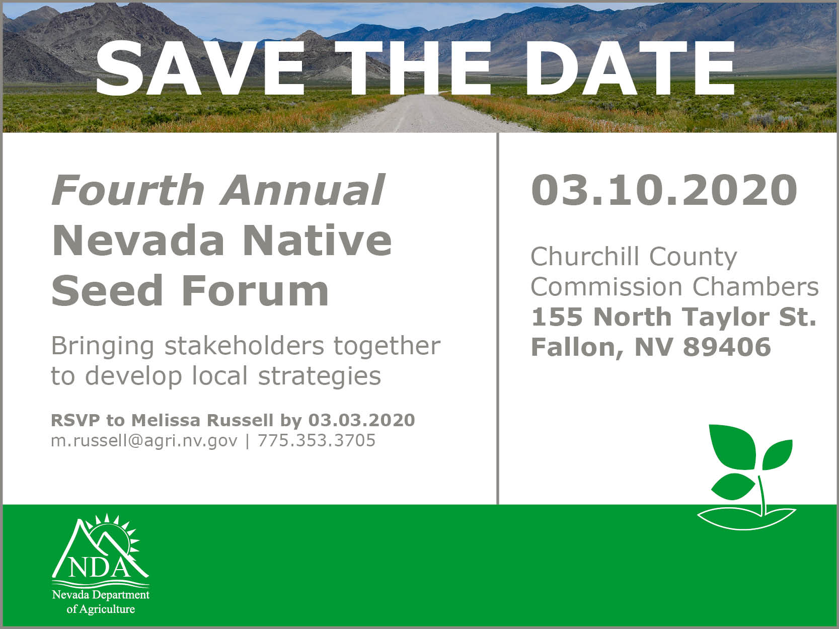 Nevada's Fourth Annual Native Seed Forum 3/10/2020