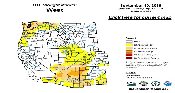 U.S. Drought Monitor West Map